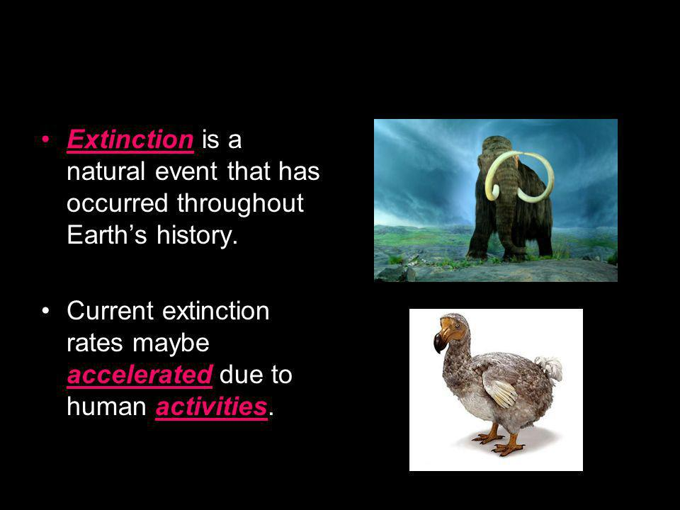 Extinction is a natural event that has occurred throughout Earth's history.