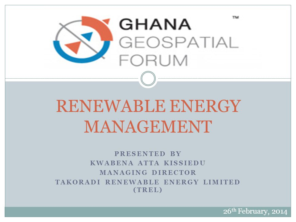 RENEWABLE ENERGY MANAGEMENT