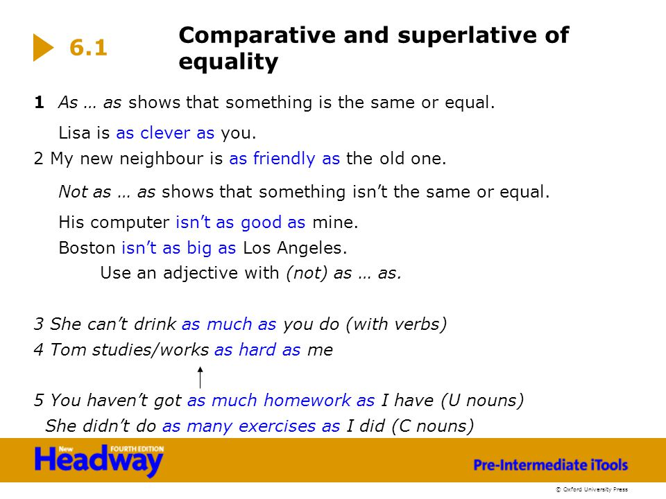 Comparative and superlative of equality