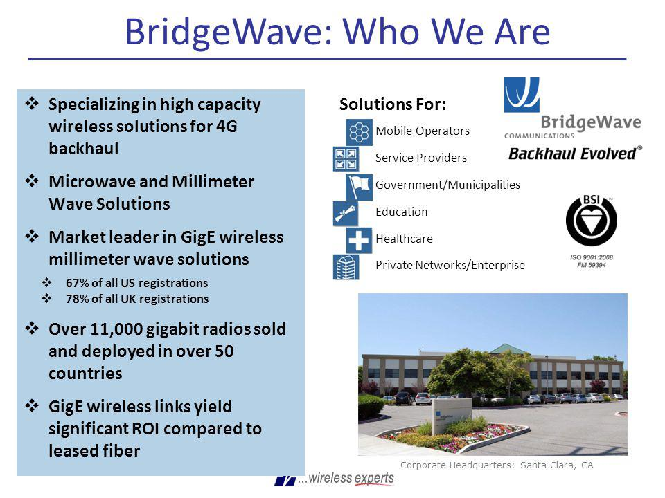 BridgeWave: Who We Are Specializing in high capacity wireless solutions for 4G backhaul. Microwave and Millimeter Wave Solutions.