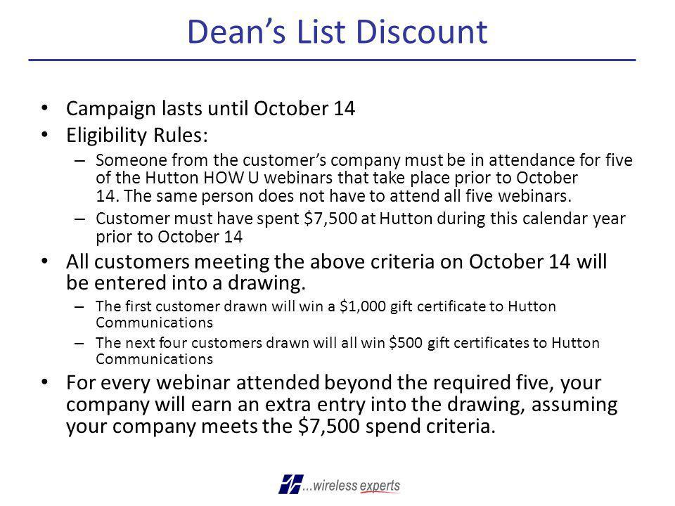 Dean's List Discount Campaign lasts until October 14