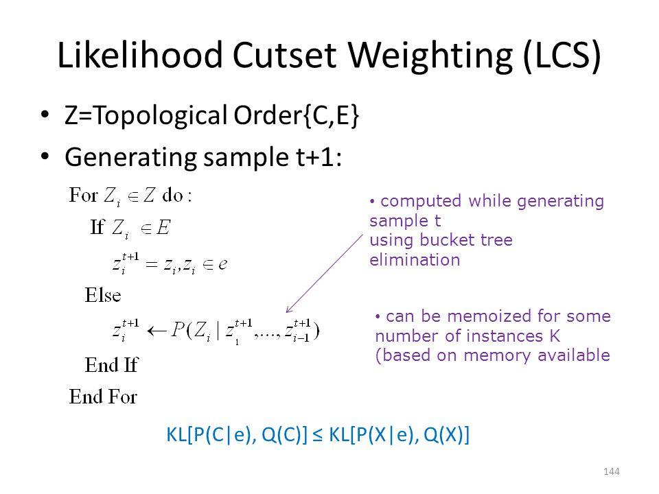 Likelihood Cutset Weighting (LCS)