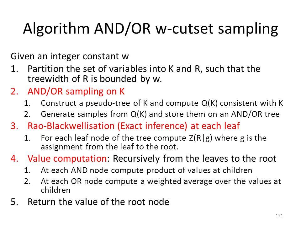 Algorithm AND/OR w-cutset sampling