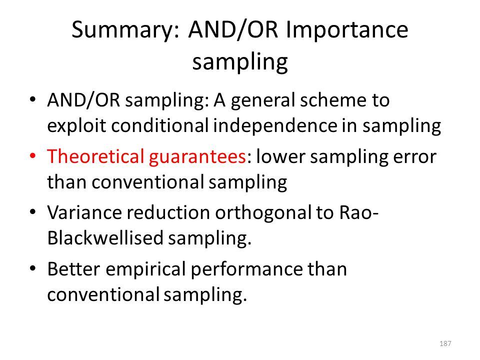 Summary: AND/OR Importance sampling