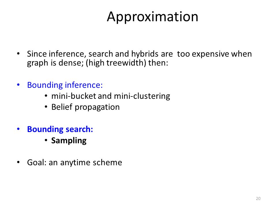 Approximation Since inference, search and hybrids are too expensive when graph is dense; (high treewidth) then: