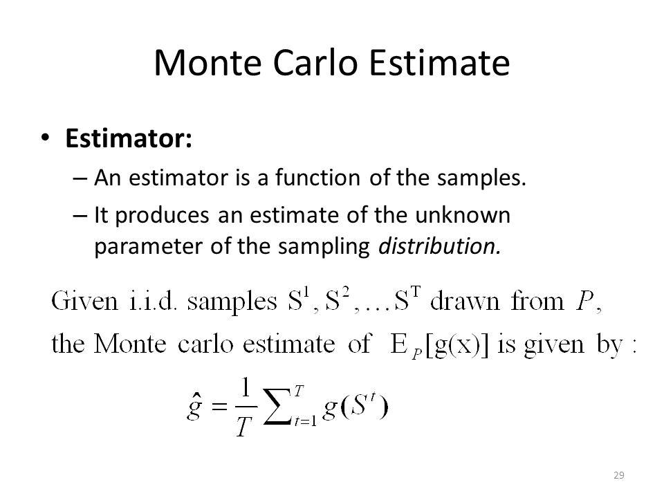 Monte Carlo Estimate Estimator: