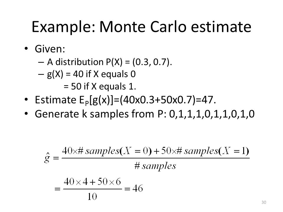 Example: Monte Carlo estimate