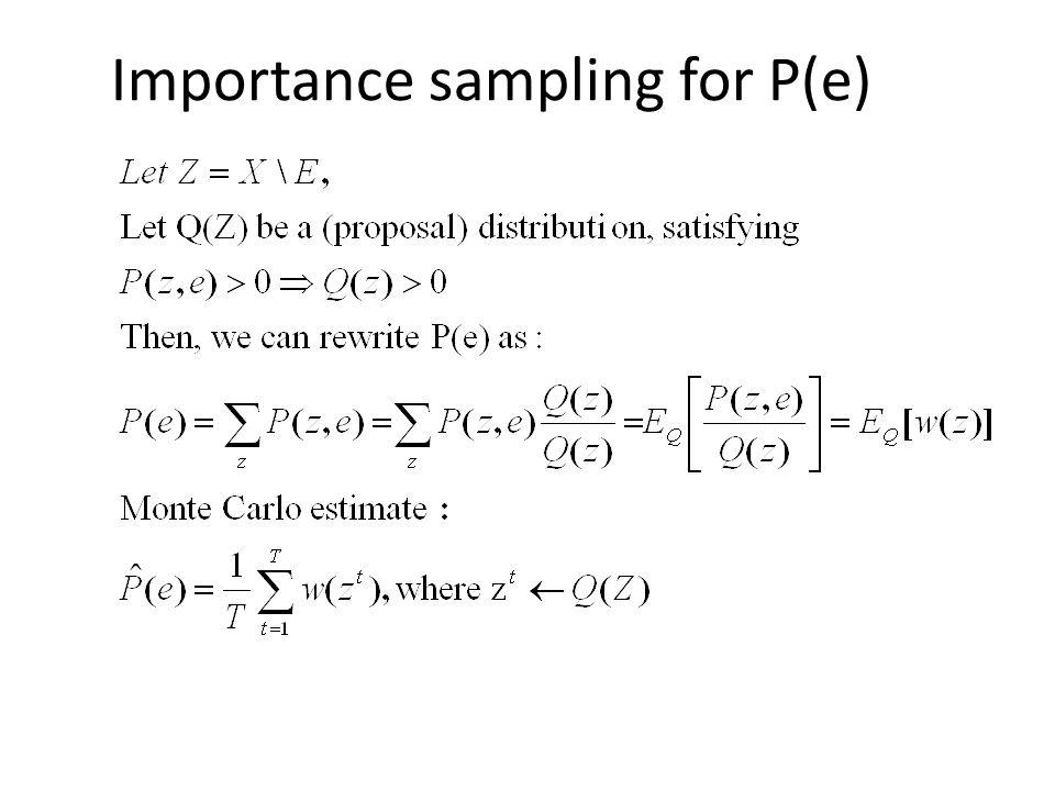 Importance sampling for P(e)