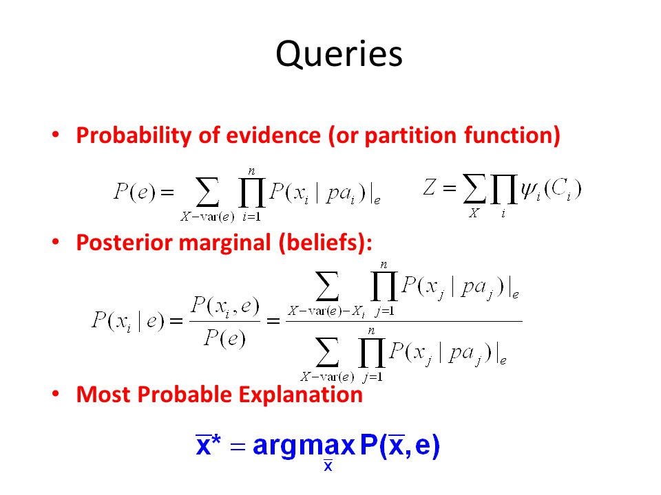 Queries Probability of evidence (or partition function)