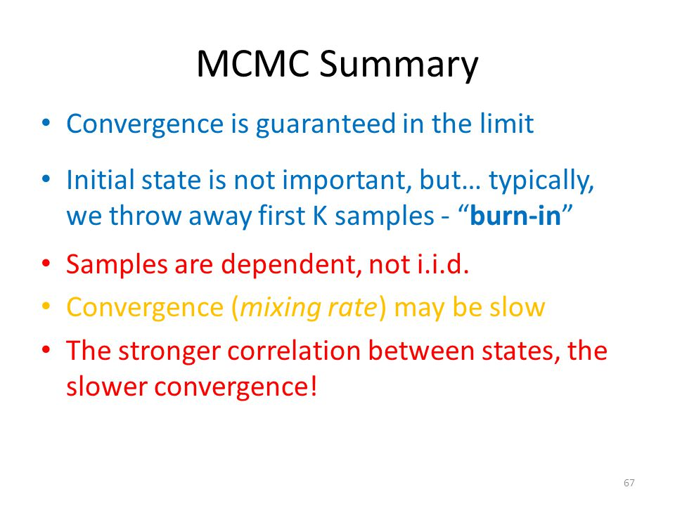 MCMC Summary Convergence is guaranteed in the limit