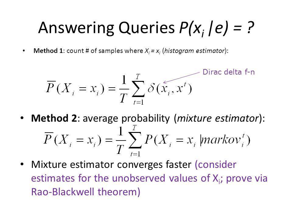 Answering Queries P(xi |e) =