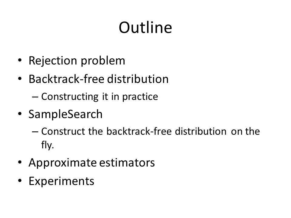 Outline Rejection problem Backtrack-free distribution SampleSearch