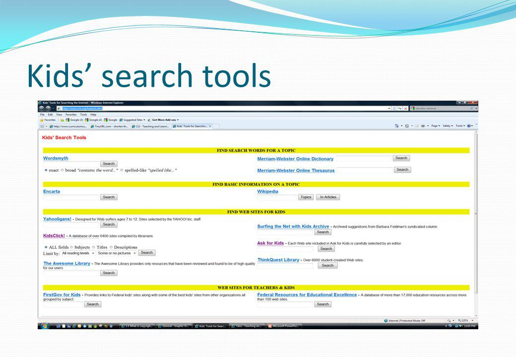 Kids' search tools