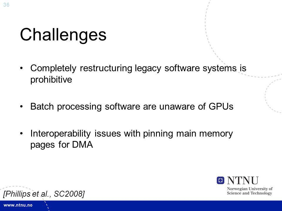 Challenges Completely restructuring legacy software systems is prohibitive. Batch processing software are unaware of GPUs.