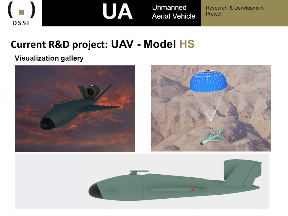 UAV Current R&D project: UAV - Model HS Unmanned Aerial Vehicle DSSI