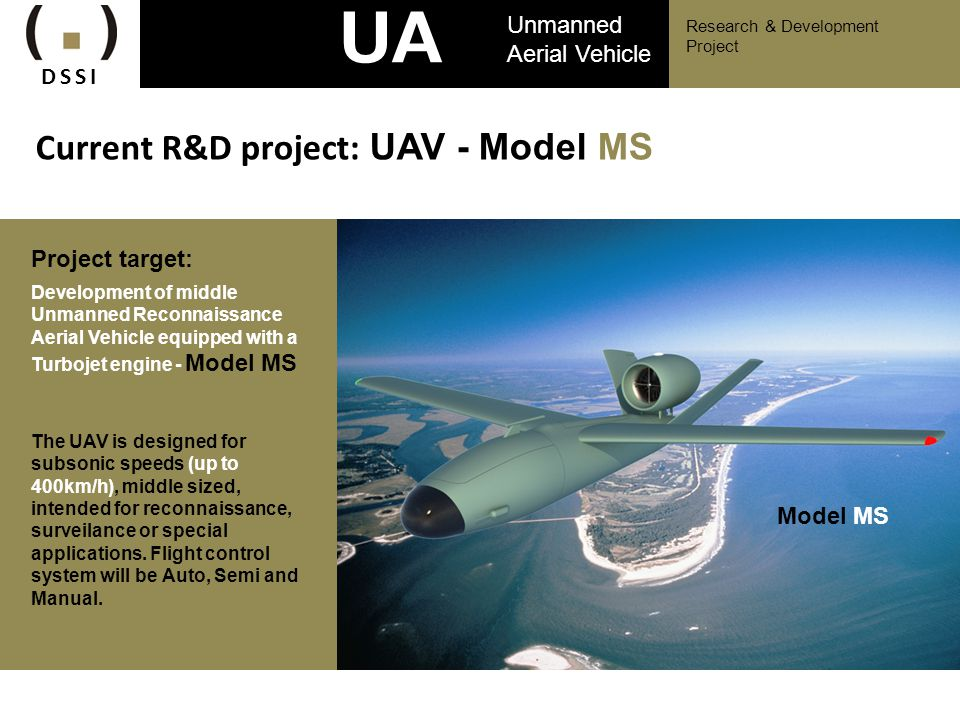 UAV Current R&D project: UAV - Model MS Unmanned Aerial Vehicle DSSI