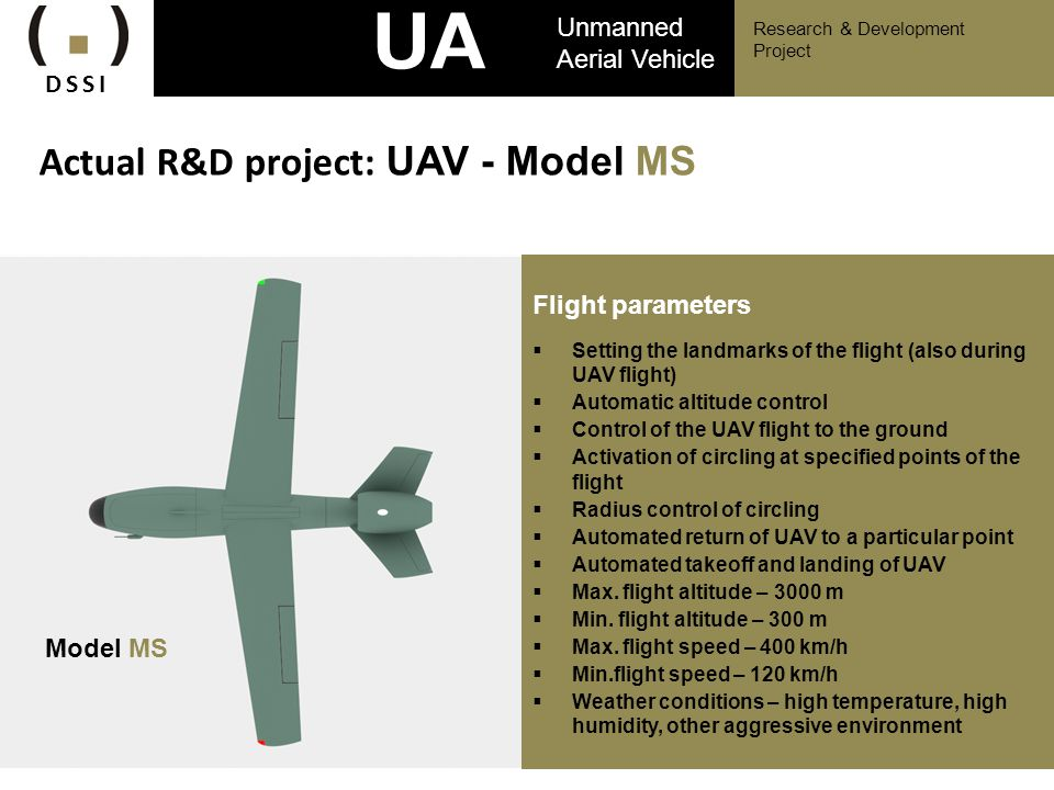 UAV Actual R&D project: UAV - Model MS Unmanned Aerial Vehicle DSSI