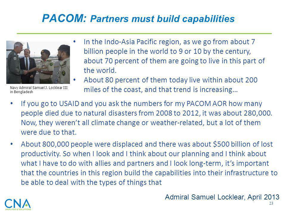 PACOM: Partners must build capabilities