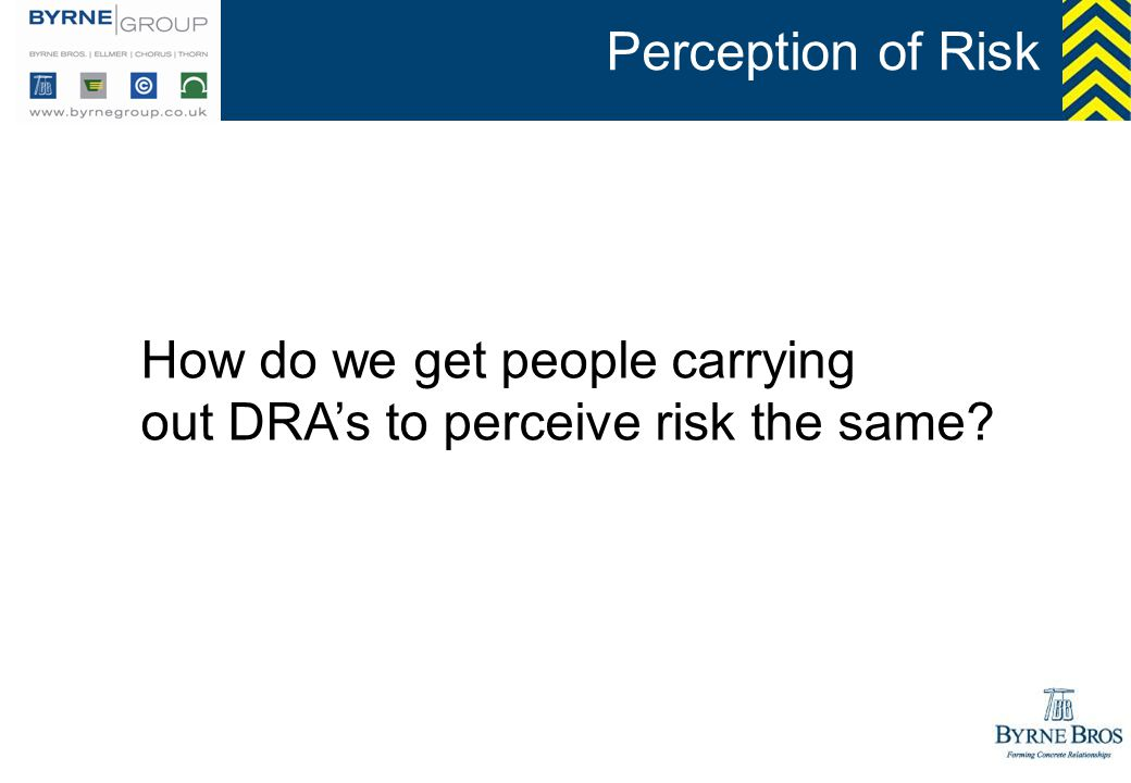 Perception of Risk How do we get people carrying