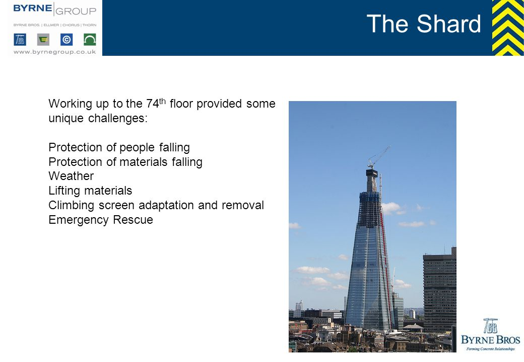 The Shard Working up to the 74th floor provided some