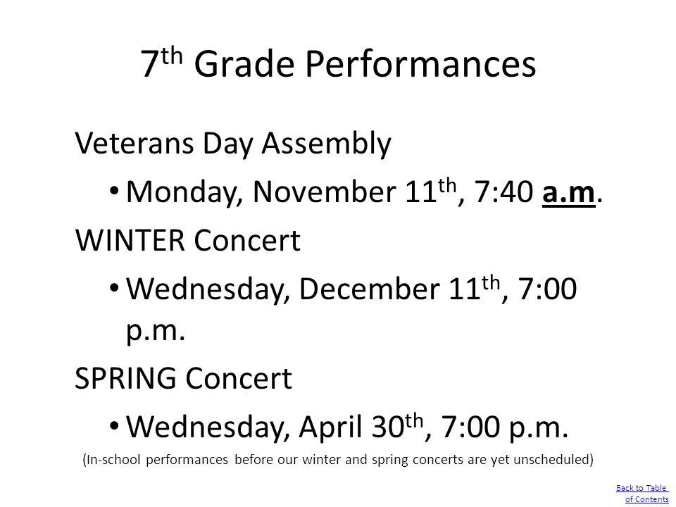 7th Grade Performances Veterans Day Assembly