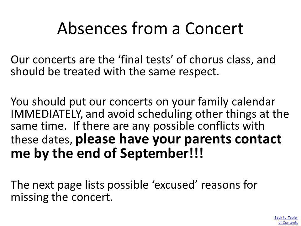 Absences from a Concert