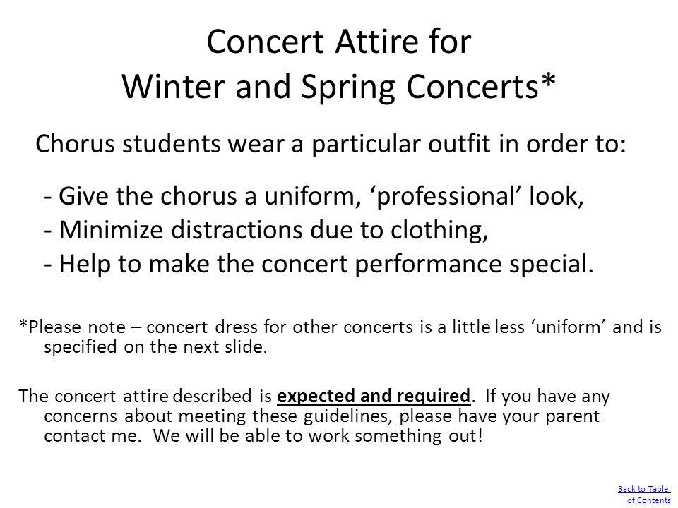 Concert Attire for Winter and Spring Concerts*