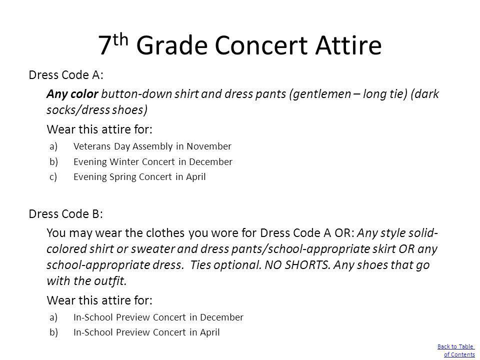 7th Grade Concert Attire