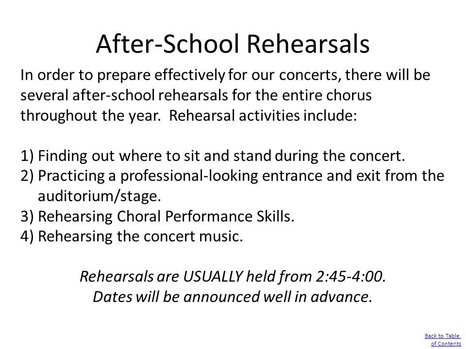 After-School Rehearsals
