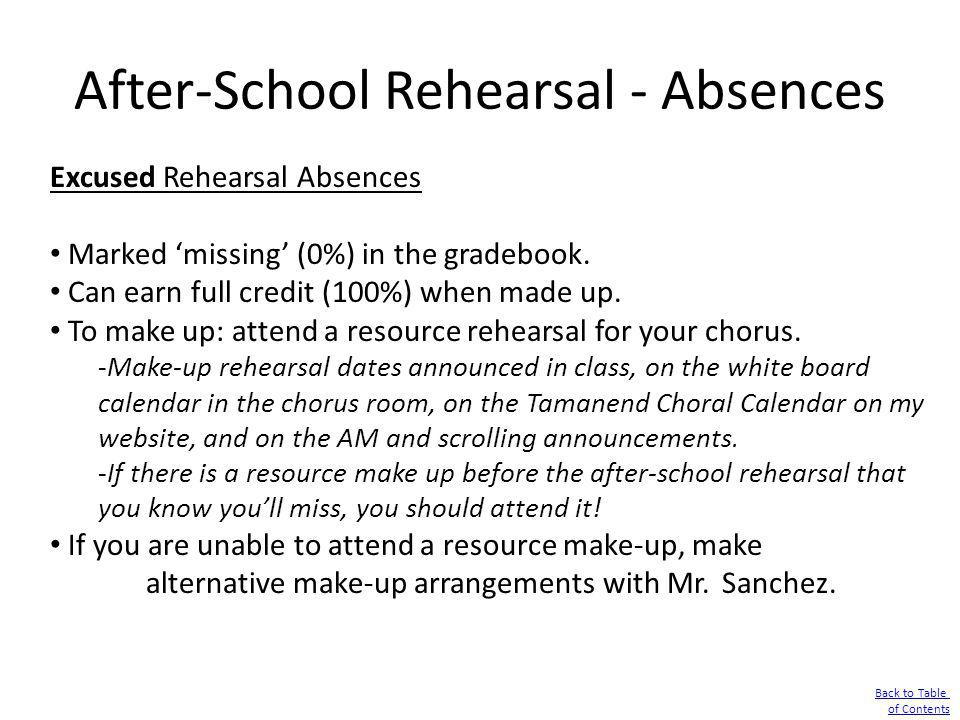 After-School Rehearsal - Absences