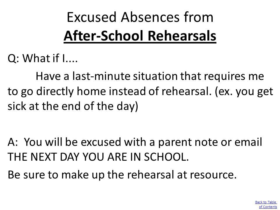 Excused Absences from After-School Rehearsals