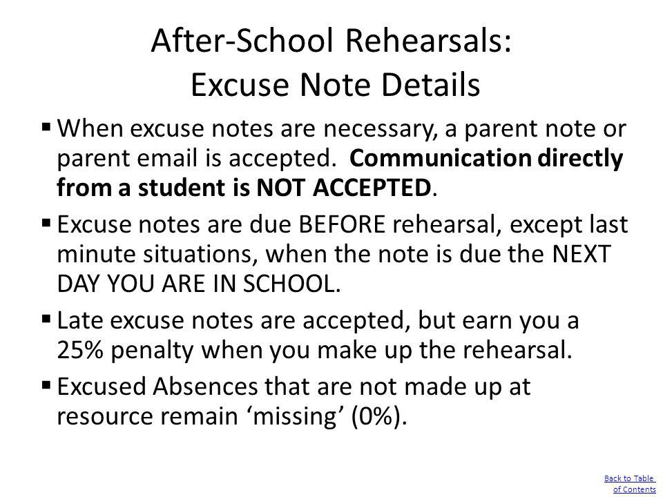 After-School Rehearsals: Excuse Note Details