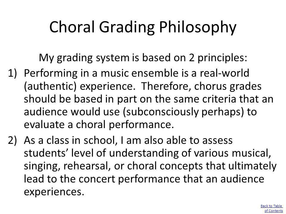 Choral Grading Philosophy