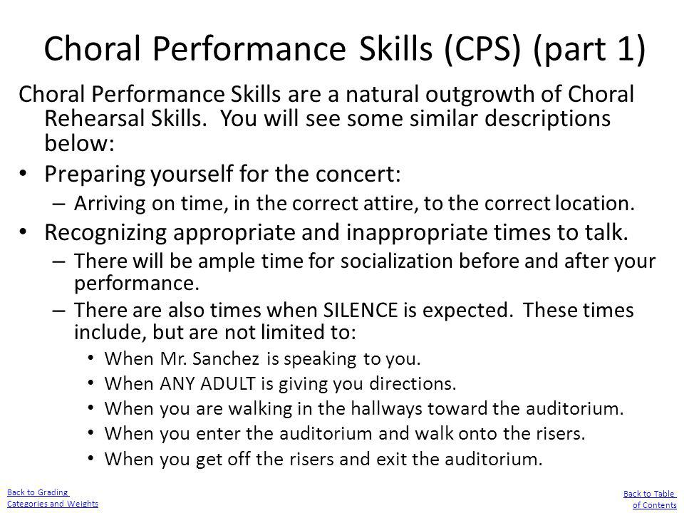 Choral Performance Skills (CPS) (part 1)