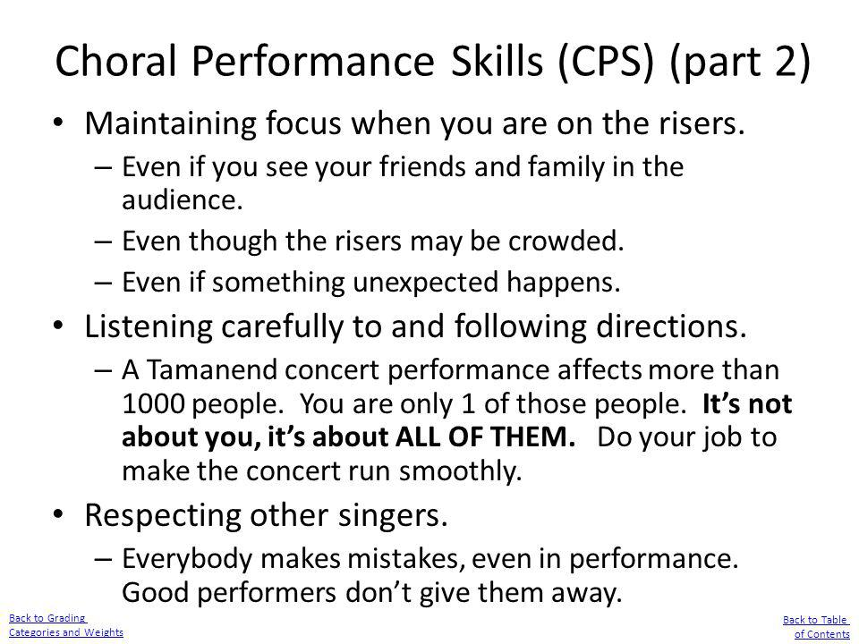 Choral Performance Skills (CPS) (part 2)