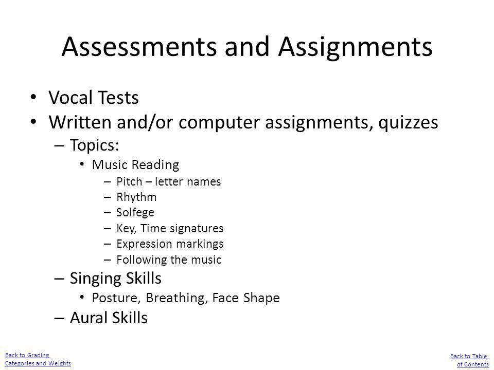 Assessments and Assignments