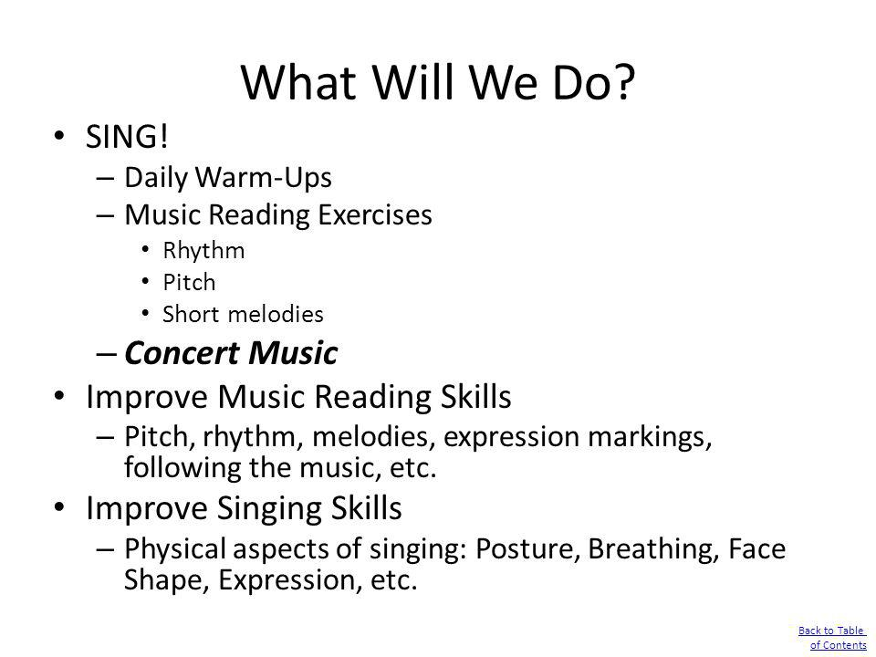 What Will We Do SING! Concert Music Improve Music Reading Skills