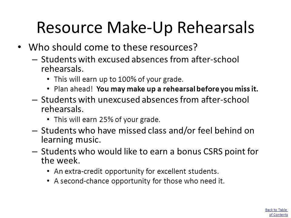 Resource Make-Up Rehearsals
