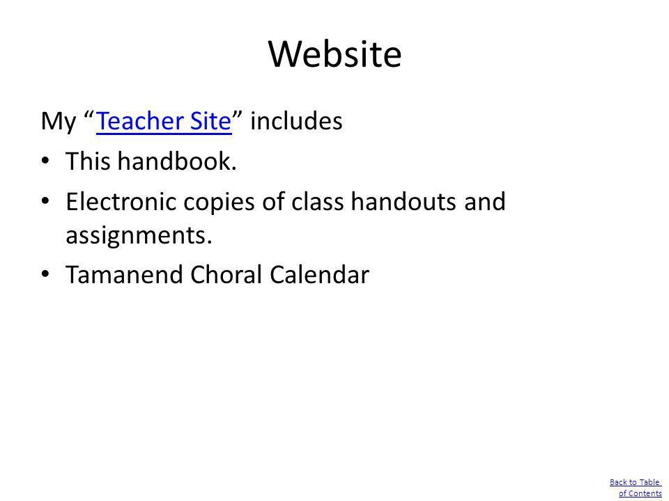 Website My Teacher Site includes This handbook.