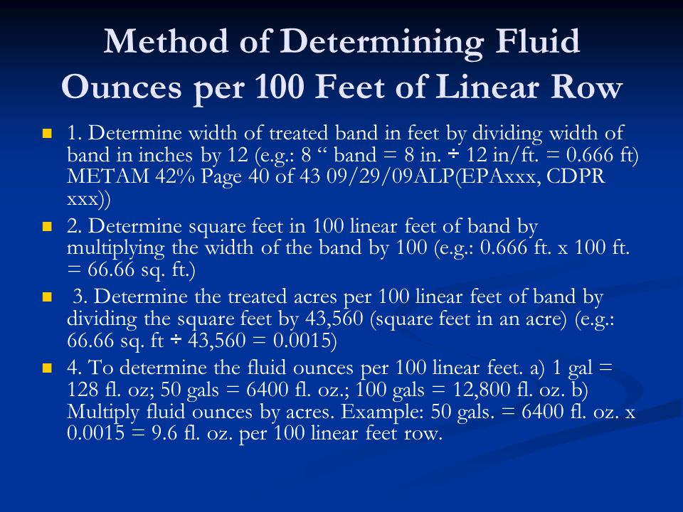 Method of Determining Fluid Ounces per 100 Feet of Linear Row