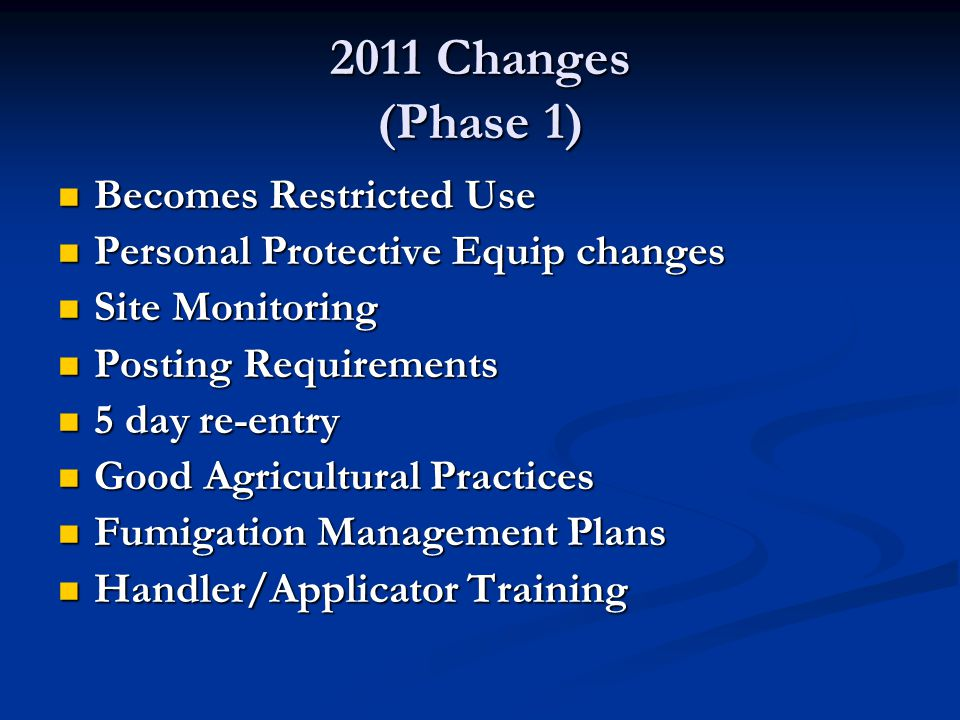 2011 Changes (Phase 1) Becomes Restricted Use