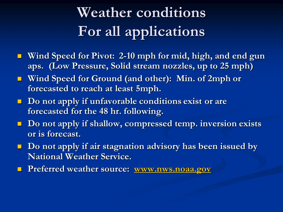 Weather conditions For all applications