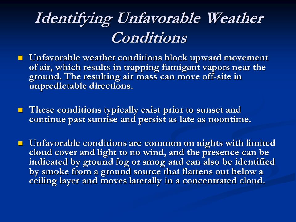 Identifying Unfavorable Weather Conditions