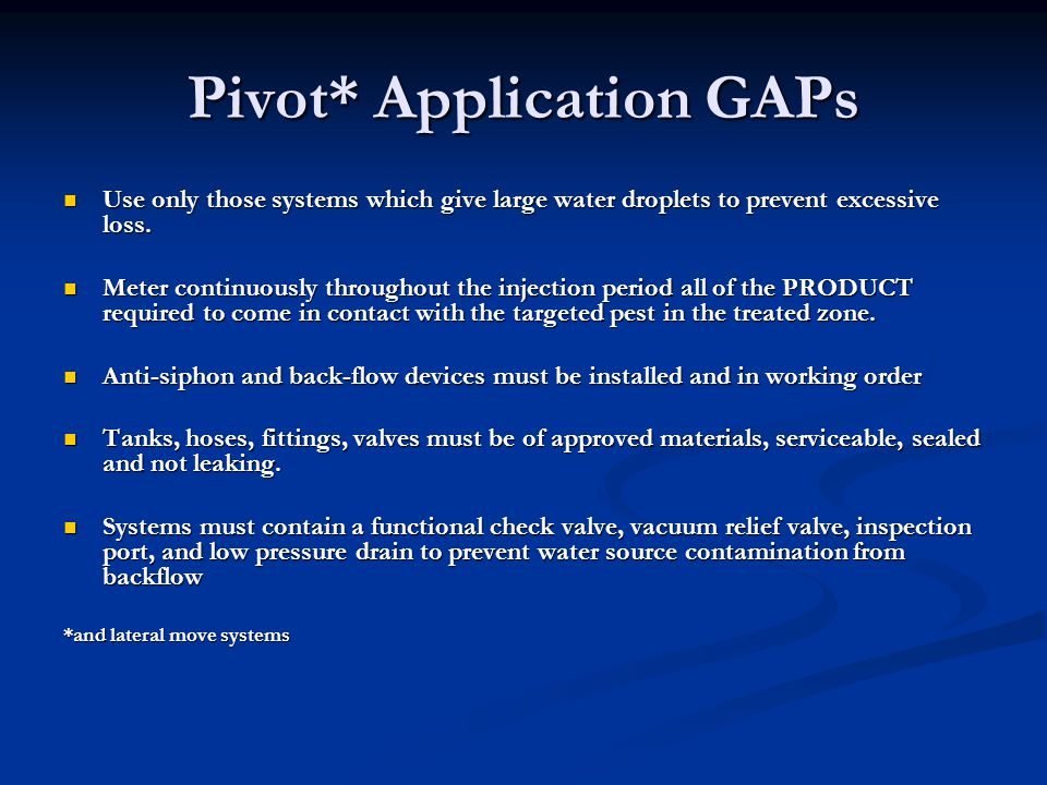 Pivot* Application GAPs