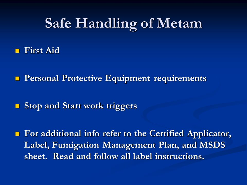 Safe Handling of Metam First Aid