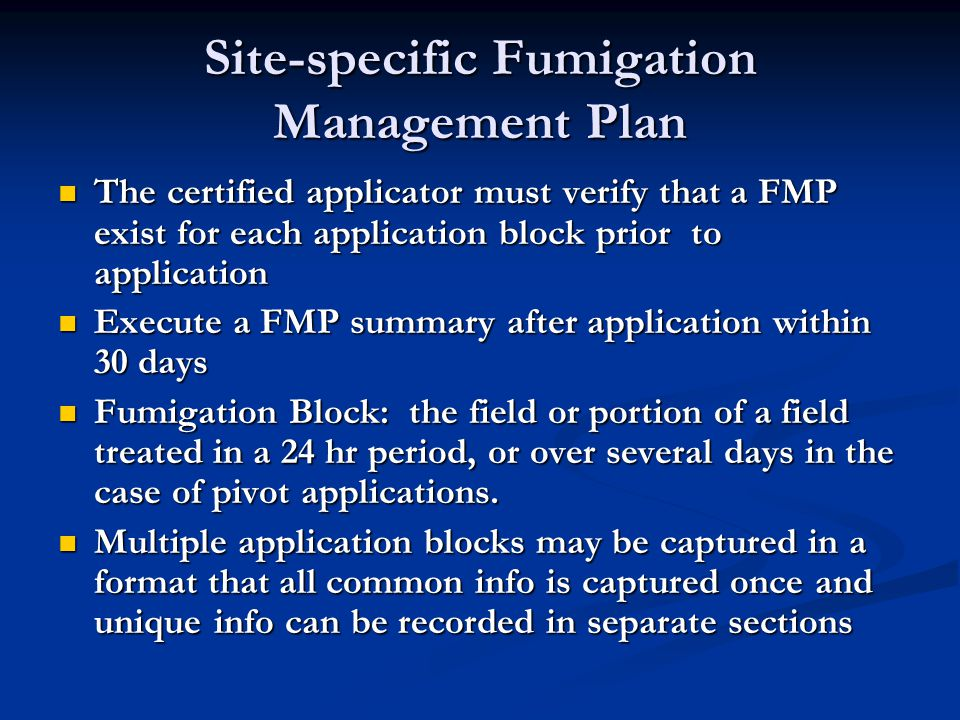 Site-specific Fumigation Management Plan