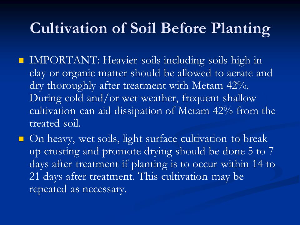 Cultivation of Soil Before Planting