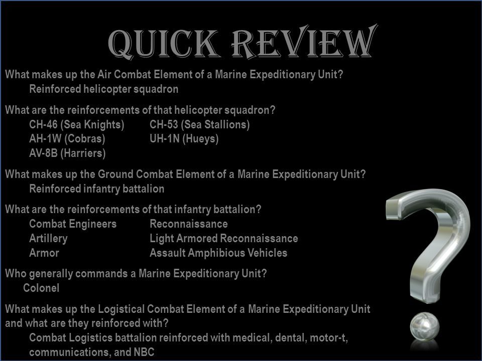 Quick review What makes up the Air Combat Element of a Marine Expeditionary Unit Reinforced helicopter squadron.