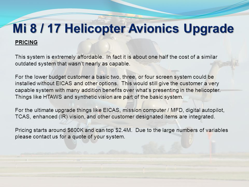 Mi 8 / 17 Helicopter Avionics Upgrade