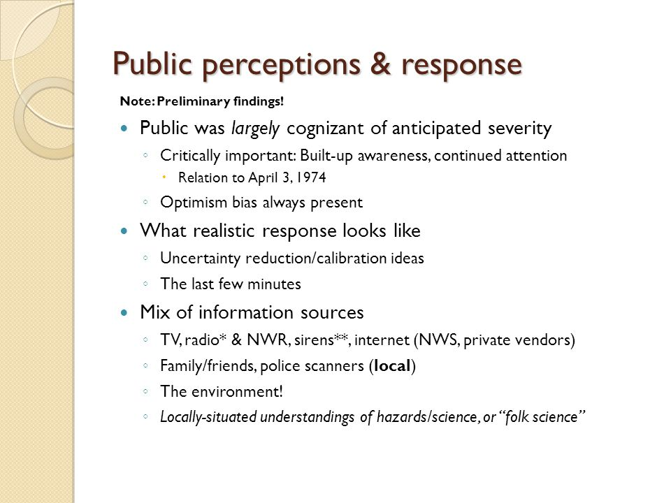 Public perceptions & response